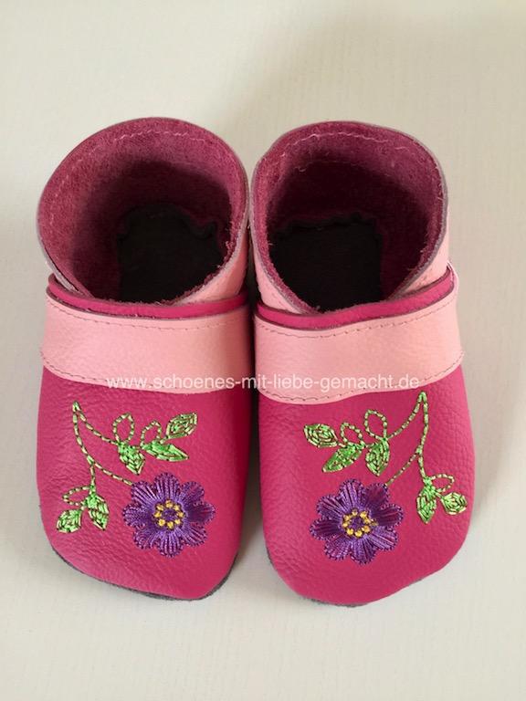 Puschen pink mit Blume